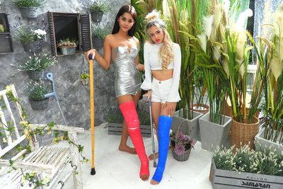 2 Girls with Long Cast Leg visit a flower store Part 1 VR Porn Video