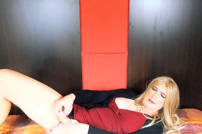 Blonde European shemale cock play and jerk of instruction VR Porn Video